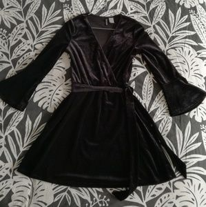 H&M Divided Black Velvet Wrap Mini Dress